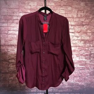 Forever 21 maroon/wine button down blouse